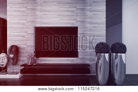 Wall mounted TV in a modern living room interior with topiary potted trees, African masks and a feature textured wall in an architectural background. 3d Rendering.