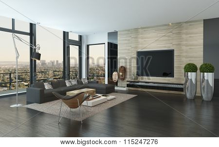 Spacious modern living room with dark grey and white decor overlooking the city through panoramic floor-to-ceiling windows. 3d Rendering.