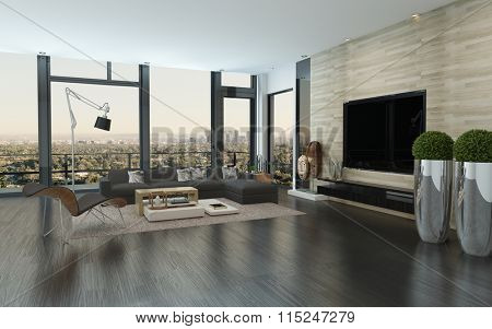 Modern urban living room interior with large view windows overlooking the city, potted plants, a parquet floor and comfortable modular lounge suite. 3d Rendering.
