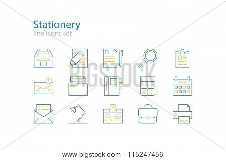 Office stationery  icons. Blue and yellow. Line art. Stock vector.