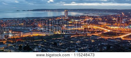 Dusk at Swansea city