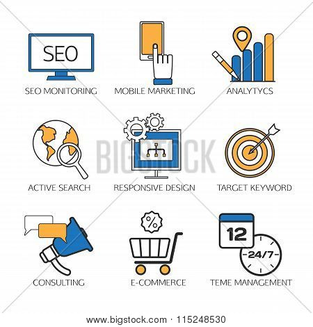 Search engine optimization technology outline icons set,  user web search experience.  SEO monitorin