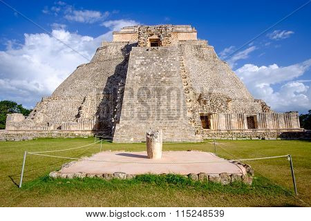 Scenic View Of Mayan Pyramid In Uxmal