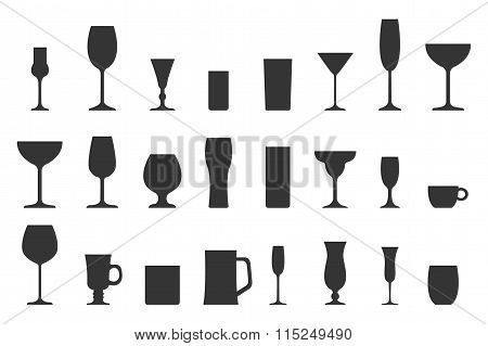 Vector illustration of silhouette glass collection.