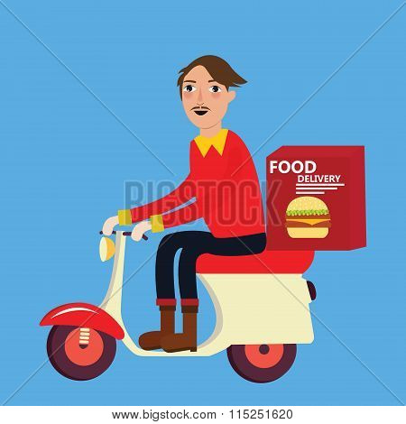 man delivery fast food burger scooter motor cycle