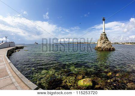 The Monument To The Scuttled Ships In The Port Of Sevastopol. Crimea. Ukraine.