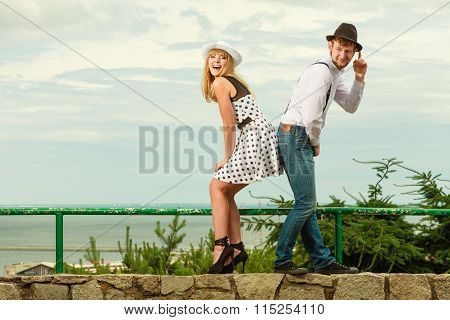 Loving Couple Retro Style Flirting Outdoor