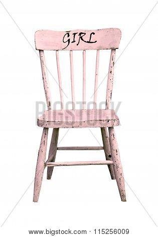 Vintage little pink wooden chair