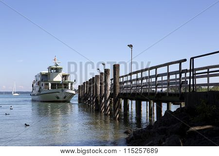 Steamship At The Pier, Chiemsee, Bavaria