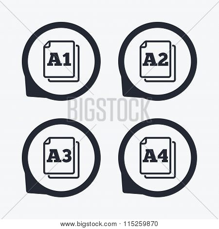Paper size standard icons. Document symbols. A1, A2, A3 and A4 page signs. Flat icon pointers. poster