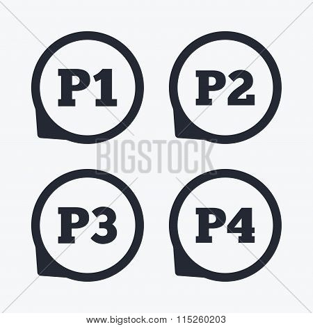 Car parking icons. First and second floor sign.