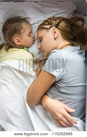 Mom And Daughter Sleeping On A Train