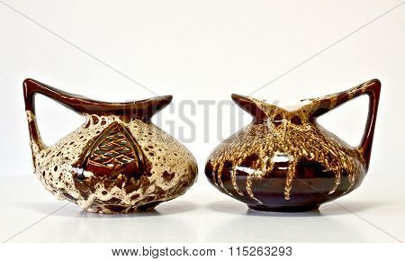 Vintage Ceramic Pair In Retro Style On White