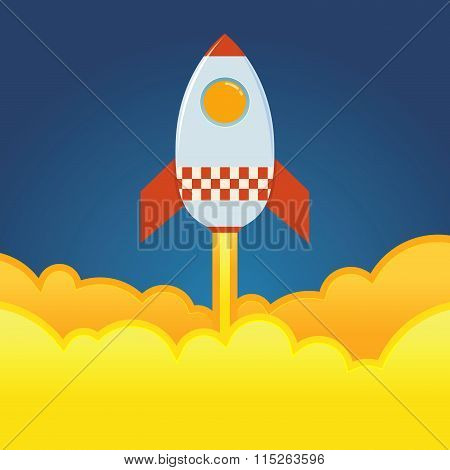 Rocket ship blasting off from the ground vector illustration poster