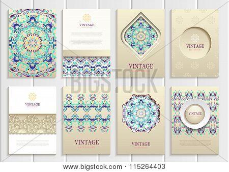 Turquoise vintage frames, ornaments, patterns and golden backgrounds