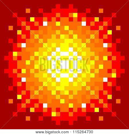 8-bit Pixel-art Firey Explosion