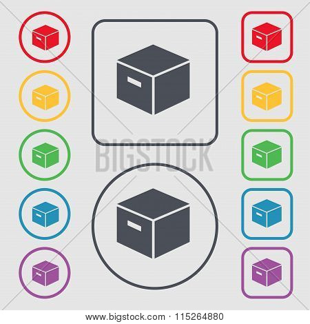 Packaging Cardboard Box Icon Sign. Symbol On The Round And Square Buttons With Frame.