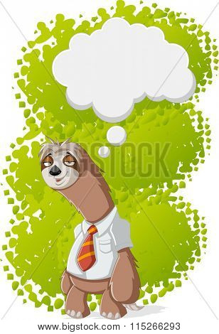 Lazy cartoon sloths wearing tie thinking