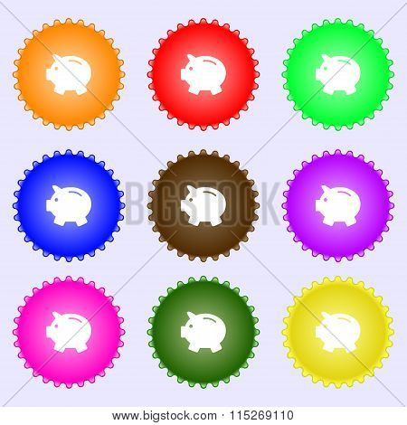 Piggy Bank - Saving Money Icon Sign. A Set Of Nine Different Colored Labels.
