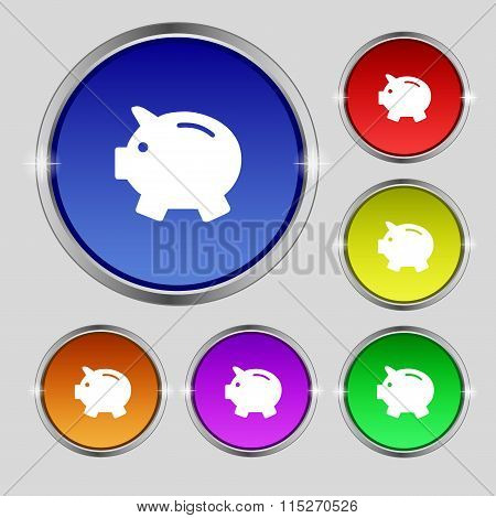 Piggy Bank - Saving Money Icon Sign. Round Symbol On Bright Colourful