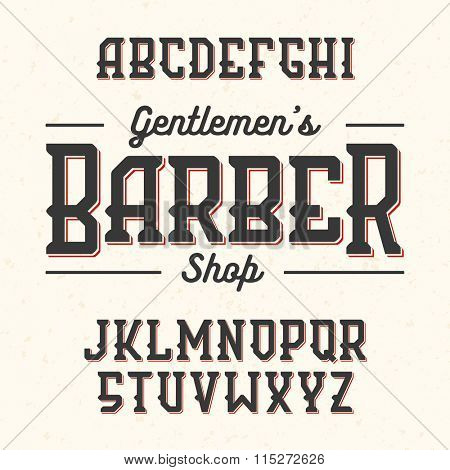 Gentlemans Barber Shop vintage style font. Vector.