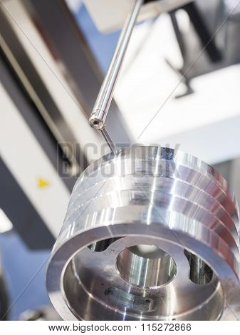 operator inspection automotive part by contour measuring machine poster