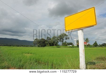 County yellow road sign in Thailand