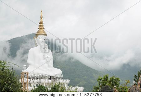 The 5 faces of white budda in Wat Pha Sorn Kaew, Thailand