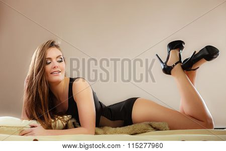 Sexy Woman In Lingerie On Carpet