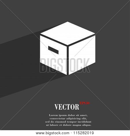 Packaging Cardboard Box Symbol Flat Modern Web Design With Long Shadow And Space For