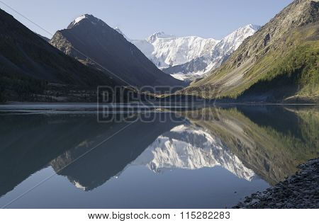 Morning Mountains Reflecting In The Lake