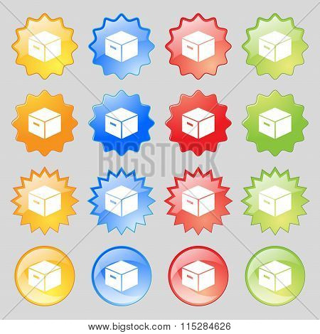 Packaging Cardboard Box Icon Sign. Big Set Of 16 Colorful Modern Buttons For Your Design.