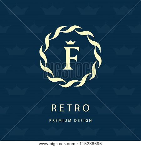 Monogram Design Elements, Graceful Template. Elegant Line Art Logo Design. Letter Emblem F. Retro Vi