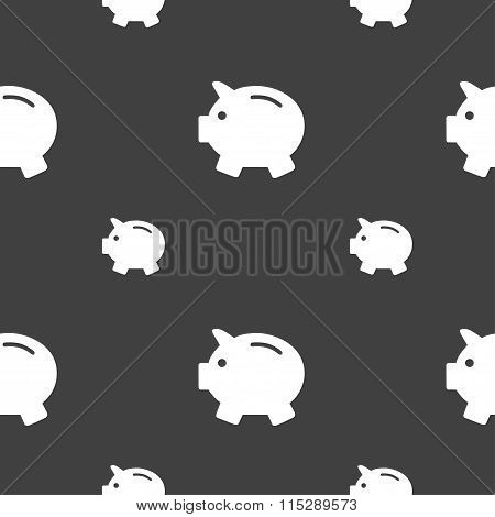Piggy Bank - Saving Money Icon Sign. Seamless Pattern On A Gray Background.