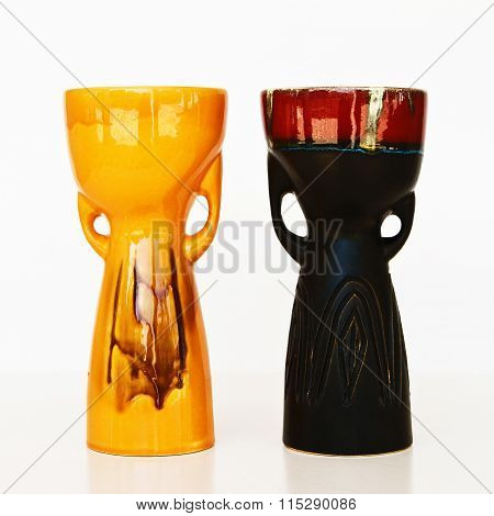 Israeli Ceramic Pair In Retro Style On White
