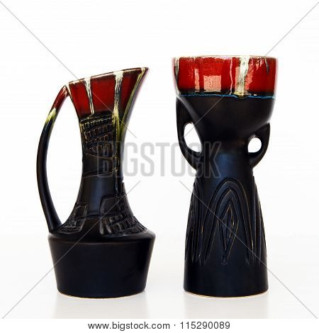 Israeli Black Ceramic Pair In Retro Style On White