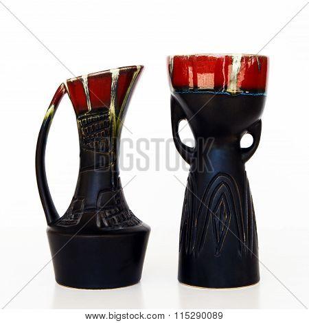 Israeli Black Ceramic Pair In Retro Style On White