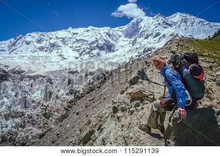 Trekker on the rock