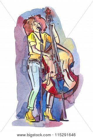 Jazz bassist singing