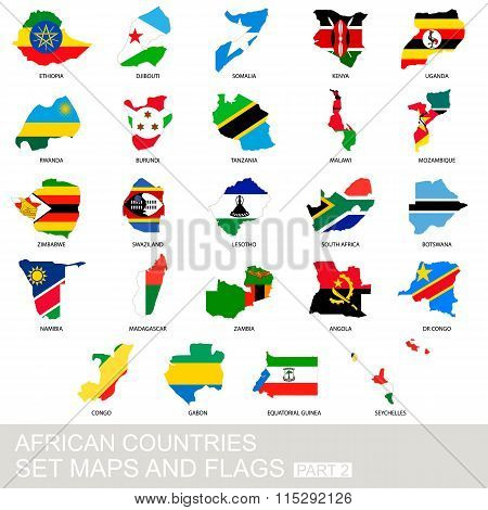African Countries Set, Maps And Flags