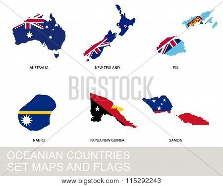 Oceania Countries Set, Maps And Flags