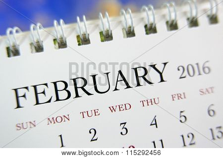 Close up calendar of February 2016