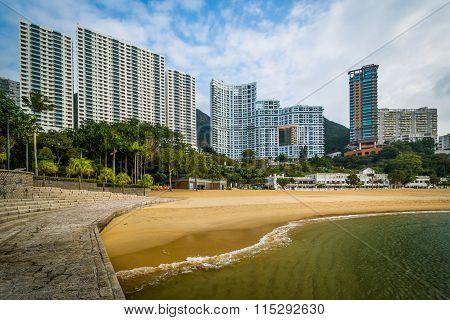 Skyscrapers And Beach At Repulse Bay, In Hong Kong, Hong Kong.