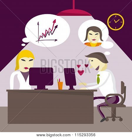 Infatuated man manager corresponds with sweetheart through the I
