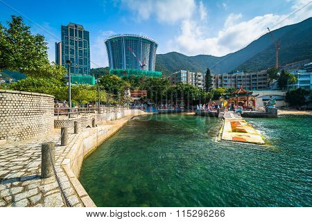 Pier And Skyscrapers At Repulse Bay, In Hong Kong, Hong Kong.