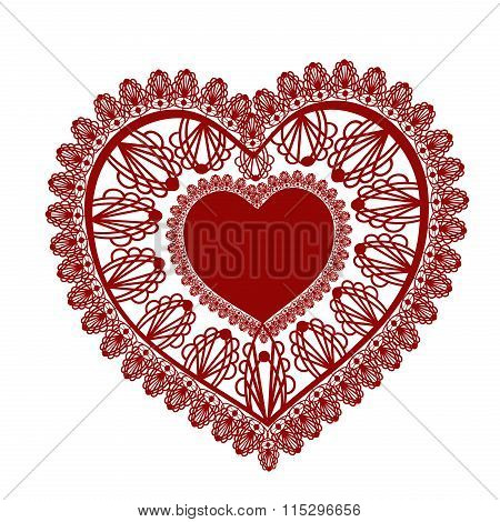 Lace Heart On White Background