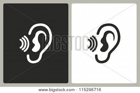 Ear - black and white icons. Vector illustration.