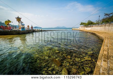 Pier And Clear Waters At Repulse Bay, In Hong Kong, Hong Kong.