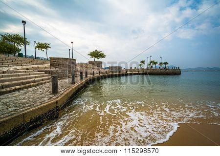 Beach And Pier At Repulse Bay, In Hong Kong, Hong Kong.