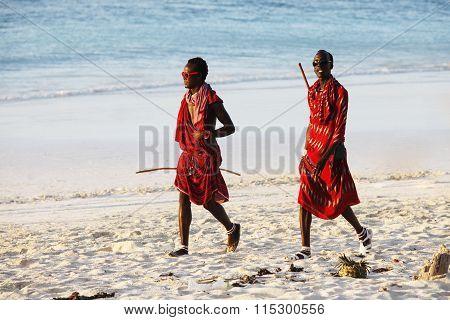 Maasai On The Beach